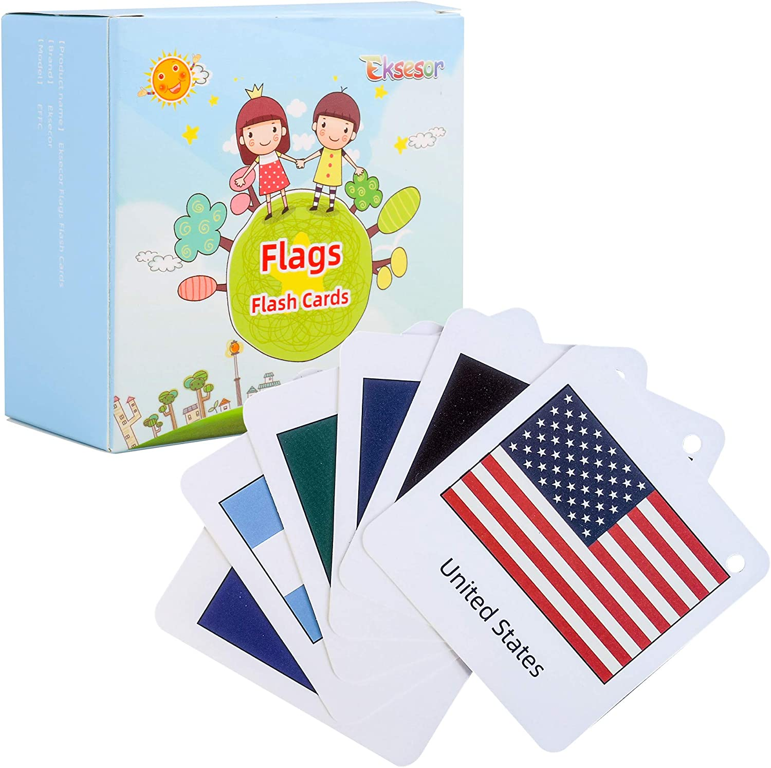 Eksesor Flags Flashcards for Kids, Educational World Countries Flags 70pcs