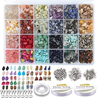 EuTengHao 1323Pcs Irregular Chips Stone Beads Natural Gemstone Beads Kit with Spacer Seed Beads Lobster Clasps Elastic Str...
