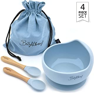 Baby Bowl Feeding Set for Babies & Toddlers – Silicone Suction Bowl with 2 Baby Spoons Plus Storage Bag. BPA Free, Microwave & Dishwasher Safe. Perfect Baby Gift in 3 Colours. (Blue)