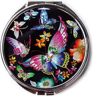 Korean Makeup Compact Mirror Mother of Pearl Metal Butterflies Black #3