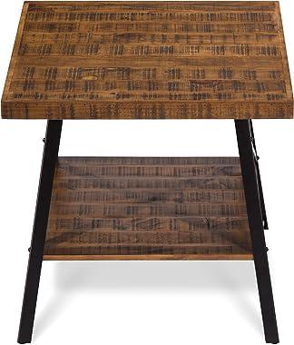 """Olee Sleep 24"""" Solid Wood & Dura Metal Legs End Table, Rustic Brown"""