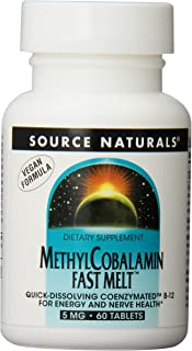 Source Naturals Vitamin B-12, 5 mg Supports Energy Production - 60 Fast Melt Vegan Formula