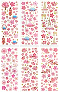 CL007-SAKURA - Clear Gold Metallic Foil Sticker - 6 Different Sheets Decorative Craft Scrapbooking Stickers Set with Beautiful Sakura Fuji Mountain Japan