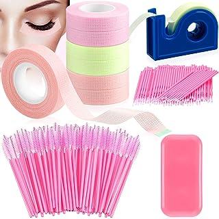 6 Rolls Eyelash Extension Breathable Lash Tape, Silicone Eyelash Pad, 100 Pieces Disposable Mascara Brushes Wands, 100 Pie...