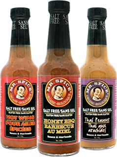 Mr. Spice Organic Salt Free Sauce - Honey BBQ, Hot Wing , and Vegan Thai Peanut - Sodium and Gluten Free - Low Calorie Mar...