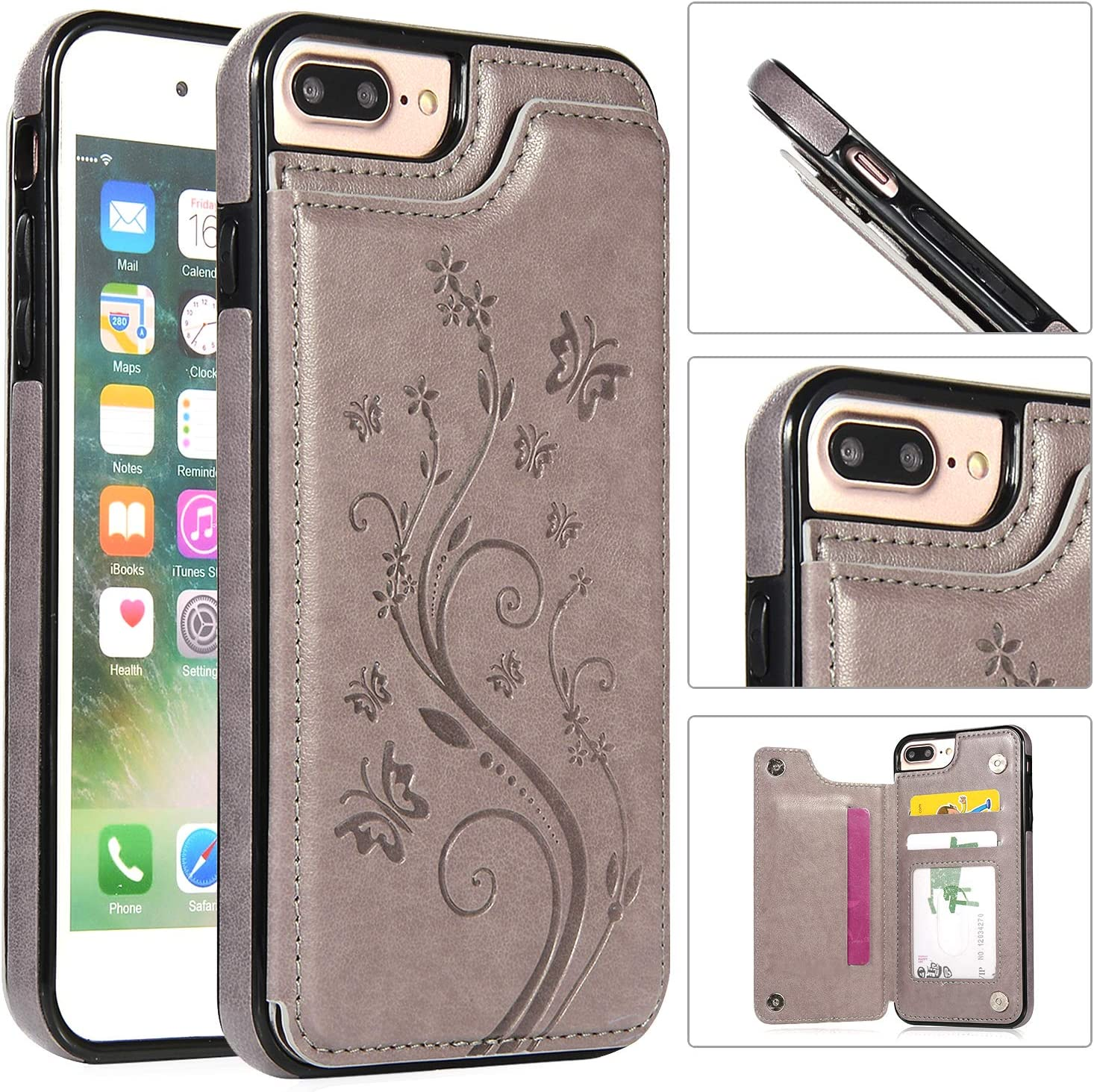 Back Wallet Case Outlet SALE for iPhone 7 Sales results No. 1 8 with Stand Elega Plus QFFUN