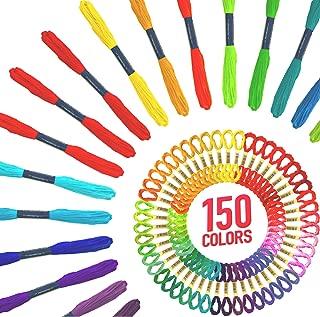 Friendship Bracelet String - 150 Skeins of Embroidery Floss - Vibrant Rainbow Colors Best for Crafts, Friendship Bracelets and VSCO Stuff