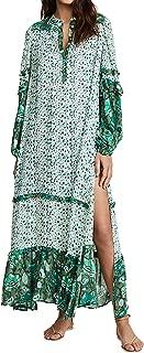 Women's Long Sleeve Floral Print Bohemian Maxi Dresses with Slit