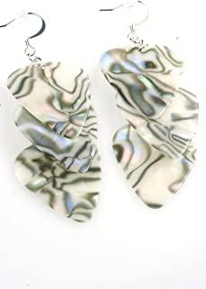 Guitar Pick Earrings in Abalone and Silver