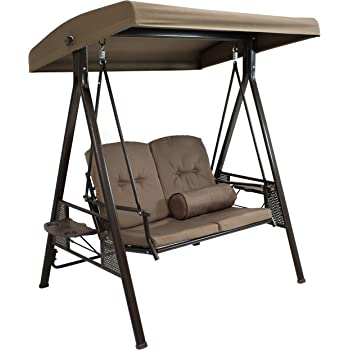 Sunnydaze Outdoor Porch Swing Loveseat with Adjustable Canopy and Steel Frame, Cushions and Pillow Included, 2-Person Patio Seater, Beige