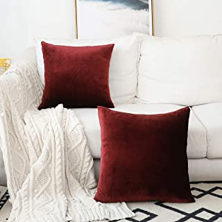 Home Brilliant Set of 2 Velvet Cushion Cover Throw Pillow Covers Decorative Pillowcases for Sofa Chair Couch, 18 x 18 inch(45x45cm), Brick Red