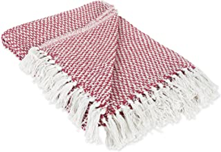 DII 100% Cotton Basket Weave Throw for Indoor/Outdoor Use Camping BBQ's Beaches Everyday Blanket, 50 x 60, Woven Barn Red