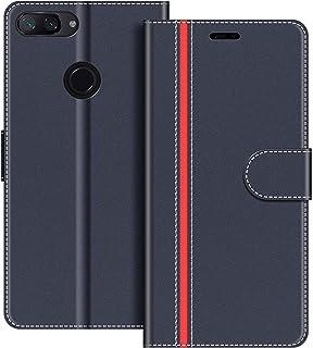 COODIO Funda Xiaomi Mi 8 Lite con Tapa, Funda Movil Xiaomi Mi 8 Lite, Funda Libro Xiaomi Mi 8 Lite Carcasa Magnético Funda para Xiaomi Mi 8 Lite, Azul Oscuro/Rojo