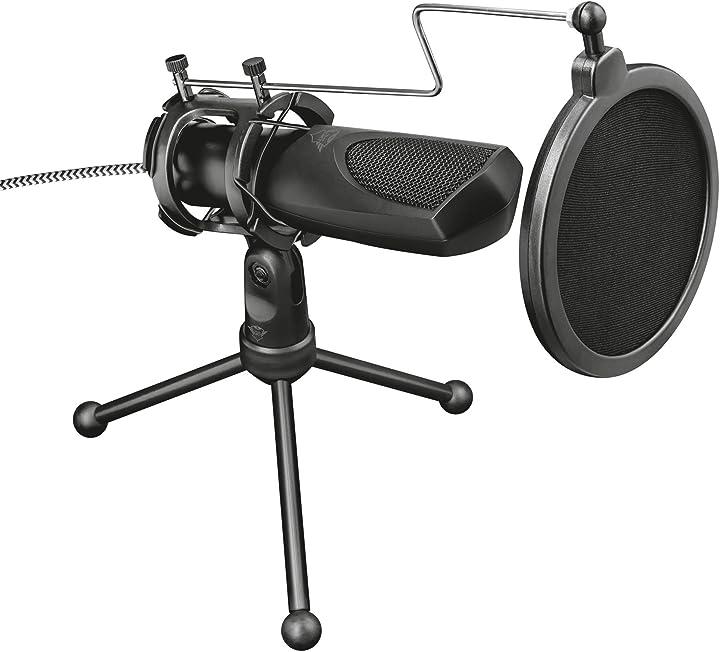 microfono usb per streaming, shock-mount, filtro pop e treppiede, per pc, ps4 e ps5, trust gaming gxt 23 22656