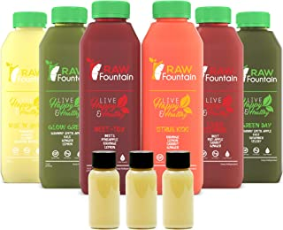 RAW Fountain 5 Day Juice Cleanse, 100% Natural Raw, Cold Pressed Fruit & Vegetable Juices, Detox Cleanse Weight Loss, 30 Bottles, 16oz +5 Ginger Shots