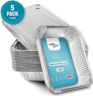 Bandejas De Aluminio Desechables Con Tapa, Bandejas De Papel Aluminio Para Hornear, Bandejas De Papel Aluminio Descartables Para Cocinar, Recalentar (Paquete De 5)
