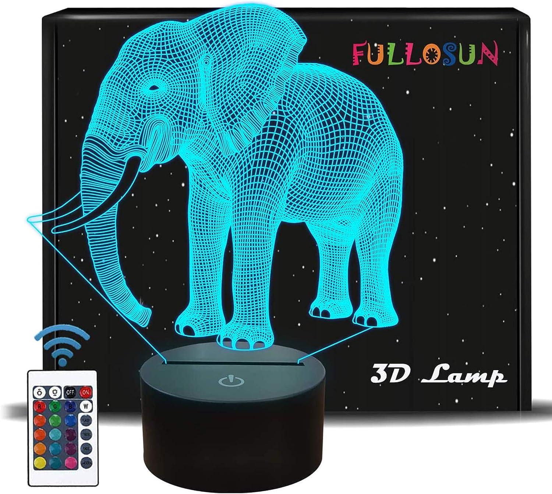 Elefantengeschenke, 8D Nachtlicht für Kinder 8 Farben Ändern der ...
