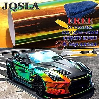 "JQSLA Holographic Rainbow Neo Chrome Black Premium Vinyl Car Wrap Decal Film Sheet Air Channel Release Technology + Free Tool Kit (60"" x 54"" / 5FT x 4.5FT)"