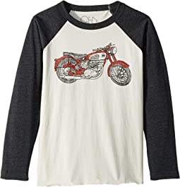 Extra Soft Motorcycle Image Long Sleeve Raglan Tee (Little Kids/Big Kids)