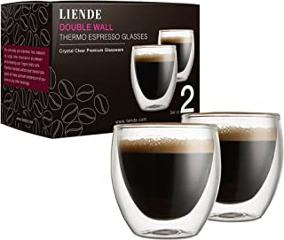 Double Wall Glass Espresso Cups Sets (Set of 2) – 2.7oz (80ml) Thermo Coffee Glasses