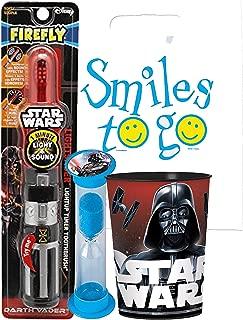 Star Wars Light & Sounds Darth Vader 3pc Bright Smile Oral Hygiene Bundle! Red Lightsaber Toothbrush, Brushing Timer & Mouthwash Rinse Cup! Plus Dental Gift & Remember to Brush Visual Aid!