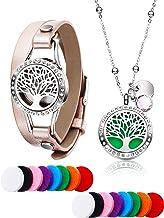 Collar de Diamante Difusor de Aceites Esenciales de Vida Árbol con Pulsera de Cuero de Tapa de Diamante Acero Inoxidable, 16 Almohadillas de Relleno de Algodón Lavable en Colores Diferentes