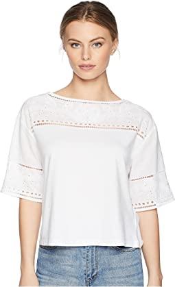 Petite Eyelet Cotton-Blend T-Shirt