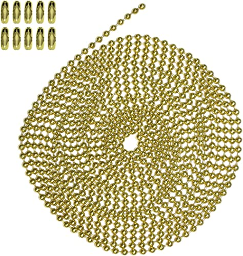 Number 3 Size 10 Foot Length Ball Chain Brass Plated Steel 10 Matching Connectors