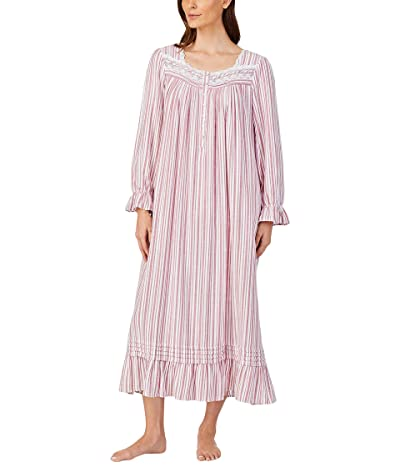 Eileen West Cotton Flannel Long Sleeve Ballet Gown (Wine Stripe) Women