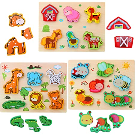 sea Animals Preschool Education Learning Puzzle Wooden Toddler Puzzle Set of 2
