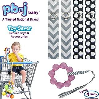 PBnJ baby Toy Saver Strap Holder Leash Secure Accessories Gray Chevron/White Dots - 4pc