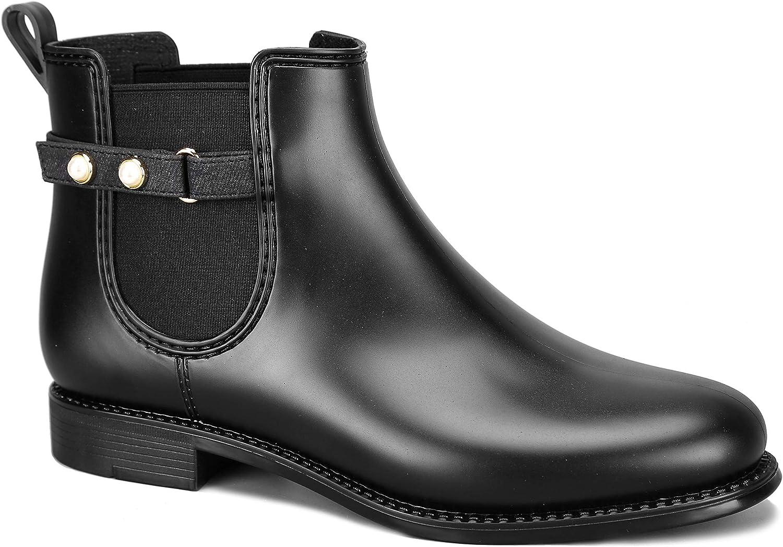 MaxMuXun Women's Short Rain Boots Waterproof Slip On Ankel Chelsea Booties