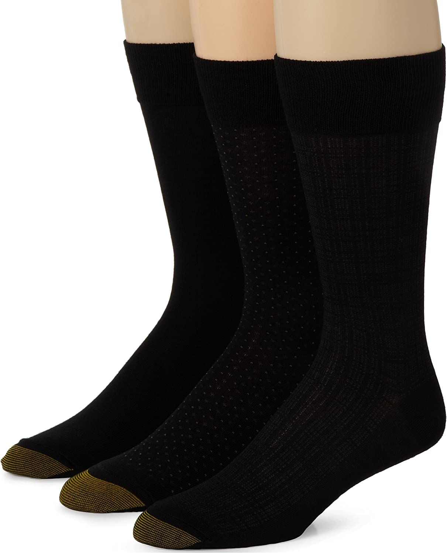 Gold Toe Men's Fashion Patterned Dress Crew Socks, 3 Pairs