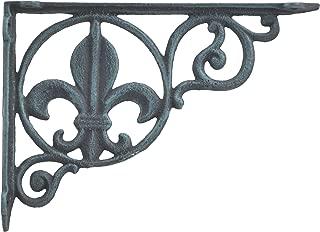 Wall Shelf Bracket Brace Fleur De Lis Pattern Verdigris Cast Iron 8.625