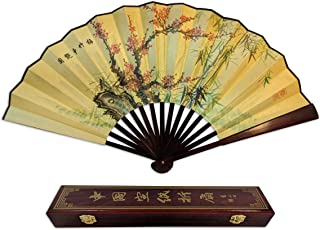 Folding Hand Fan Chinese Gifts! Plum Blooming Bamboo Large Handheld Fan+Gift Box Home Decoration