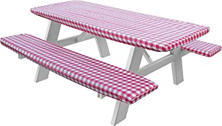 HomeCrate Checkered 72 Inch Picnic Table and Bench Fitted Tablecloth Cover, 3-Piece, Red