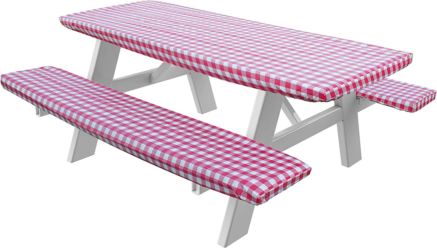 HomeCrate Checkered 72 Inch Picnic Table And Bench Fitted Tablecloth Cover 3 Piece Red