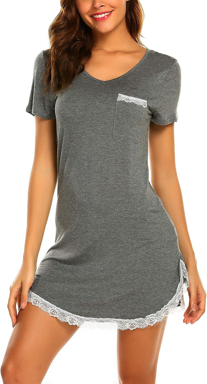 Ekouaer Nightgowns for Women Sexy Sleepshirts V Neck Short Sleeve Sleepwear Lace Trim Soft Short Night Shirts XS-3XL