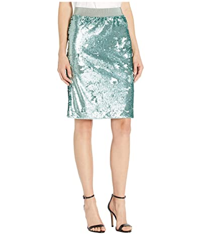 Vince Camuto Back Zip Two-Way Sequin Pencil Skirt (Eucalyptus) Women