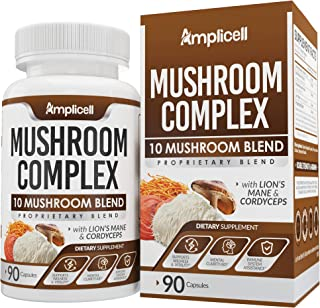 Mushroom Complex (90 caps) - Blend of 10 Organic Mushrooms - Immune Booster Wellness Formula - Chaga Mushroom, Chaga, Cord...