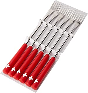 Kuhn Rikon Cheese Fondue Forks Swiss Cross 6 Pieces, Stainless Steel, Silver/Red, 26.5 x 1.5 x 1.5 cm