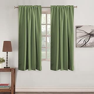 Turquoize (Set of 2) Blackout Room Darkening Curtains Window Treatment Panels - Rod Pocket Room Darkening Curtain Draperies for Living Room/Bedroom, W52 x L84 Sage
