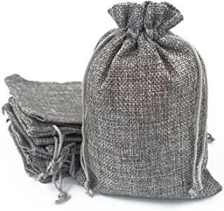 50PCS Burlap Bags with Drawstring Gift Jute bags Included Cotton Lining (Gray, 13X18)