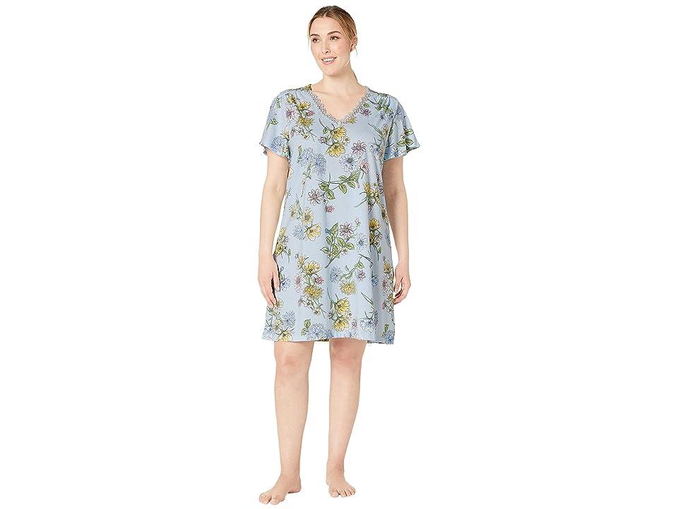 Karen Neuburger Plus Size Dreamer Short Sleeve Nightshirt (Floral/Light Blue) Women