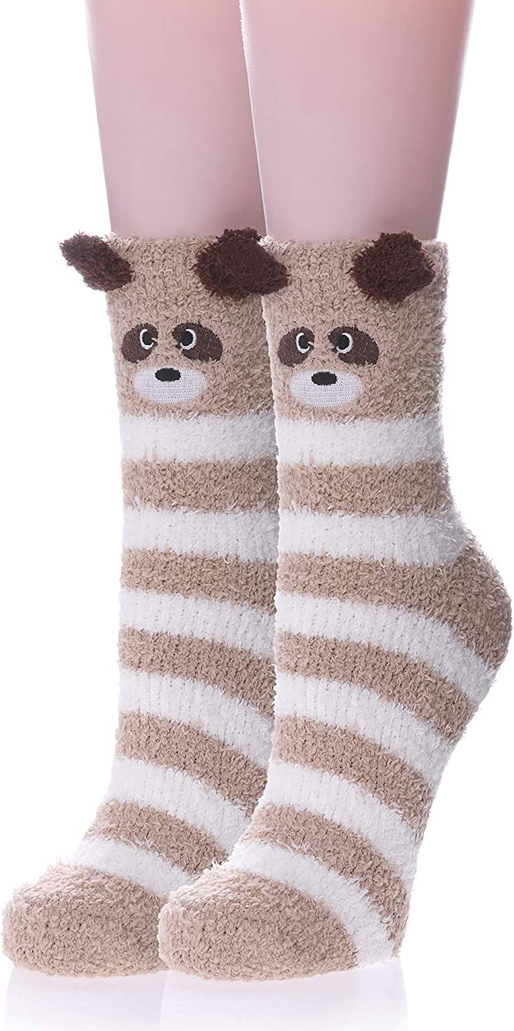 FANZERO Womens Girls Fuzzy Slipper Socks 3D Cute Animal Microfiber Super Soft Warm Winter Home Floor Socks