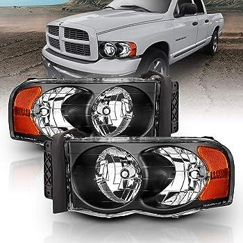 AmeriLite Black Replacement Headlights Set for 02-05 Dodge RAM 1500 2500 3500 Truck - Passenger and Driver Side