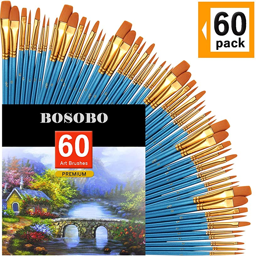 BOSOBO Paint Brush Sets, 6 Pack 60 Pcs Pointed-Round Tip Paintbrushes Nylon Hair Artist Acrylic Paint Brushes for Acrylic Watercolor Oil, Face Art, Model, Miniature Detailing & Rock Painting, Blue