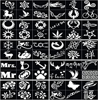 Henna Tattoo Stencils (Pack of 60) Glitter Face Paint Airbrush Temporary Mehndi Template Self Adhesive Body Art Designs for Hand Arms Shoulders Chest Lower Back Legs