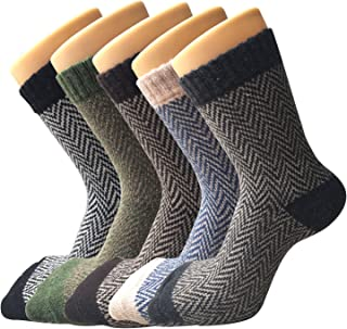 5 Pack Womens Warm Wool Socks Thick Knit Winter Cabin Cozy Crew Socks Gifts