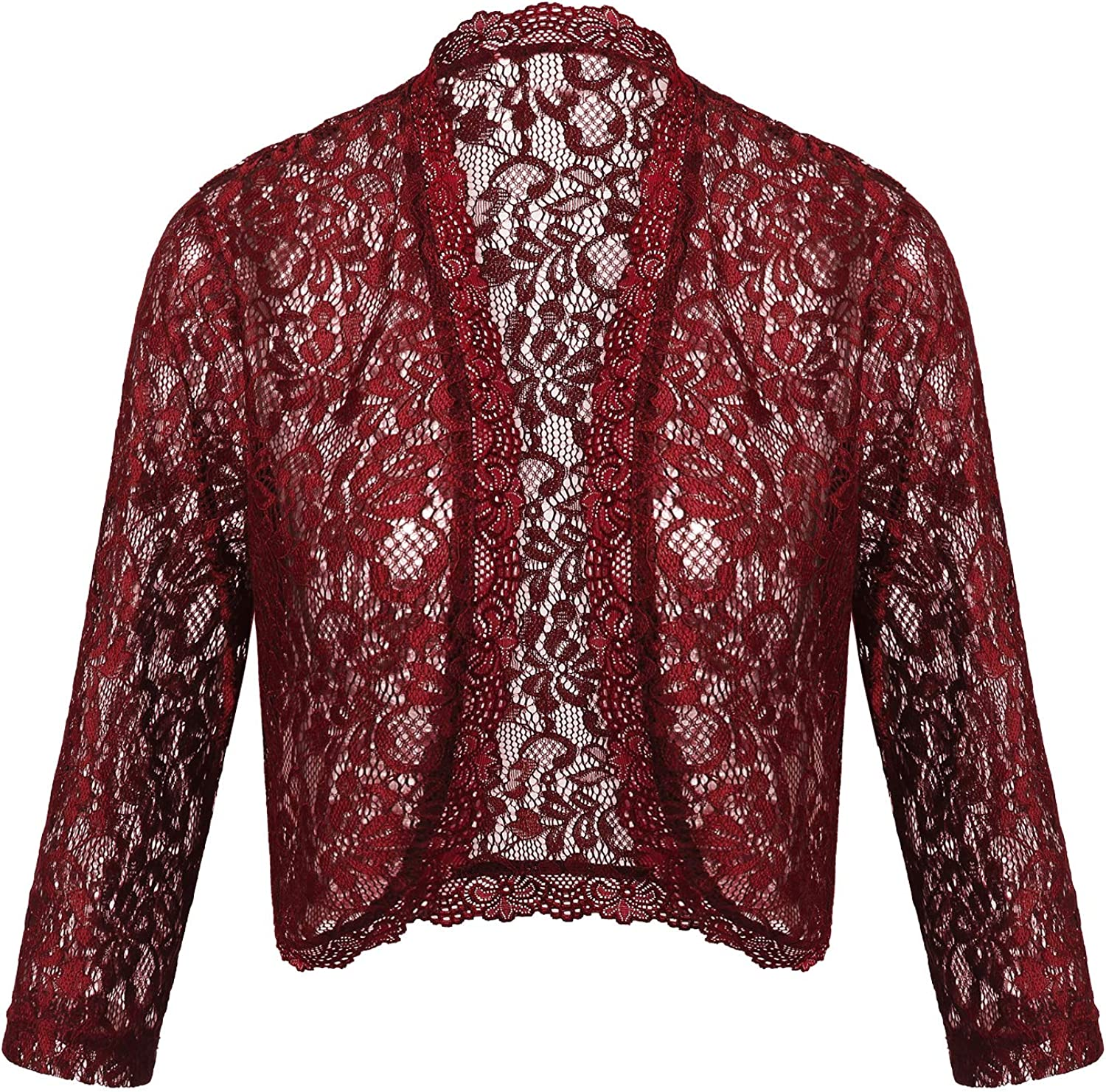 Dealwell Women's Floral Lace Cropped Shrug Bolero 3 4 Sleeve Open Front Cardigan